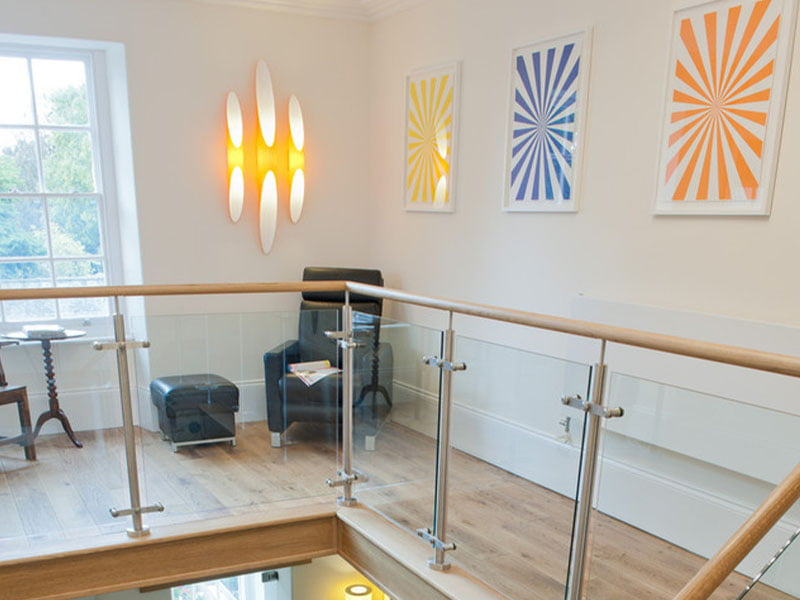 Colour prints and feature light in Rhiwbina Dental Practice