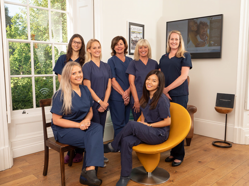 team photograph of rhiwbina dental practices personnel
